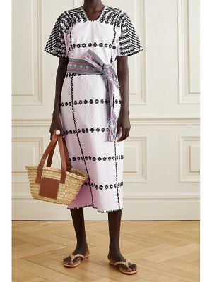 PIPPA HOLT net sustain embroidered striped cotton huipil