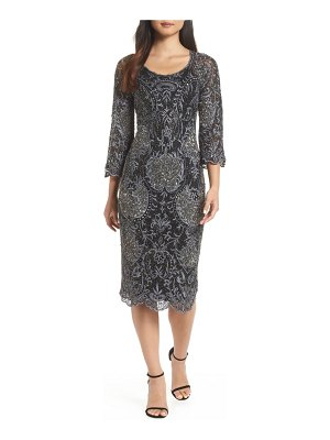 Pisarro Nights embroidered scallop edge midi sheath dress