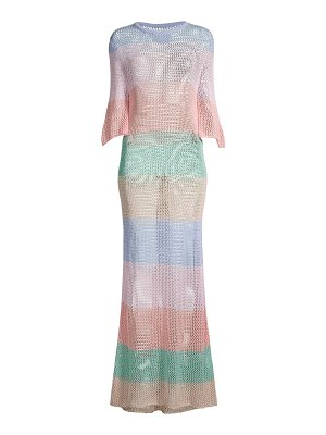 Pitusa rainbow crochet maxi dress
