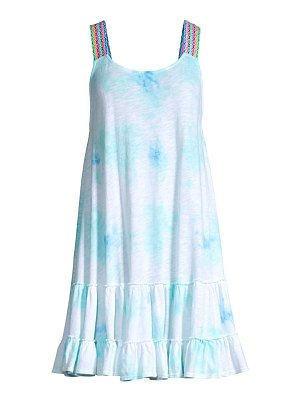 Pitusa tie-dye gathered mini cover-up dress