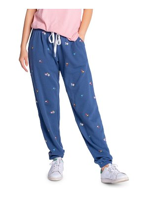 PJ Salvage ditsy embroidered floral cotton blend lounge pants