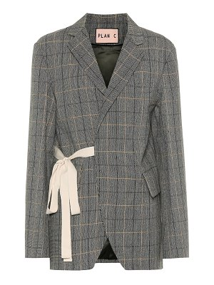 Plan C checked wool-blend blazer