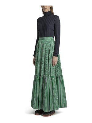 Plan C Striped Tiered Maxi Skirt
