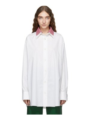 Plan C white and pink poplin collar shirt