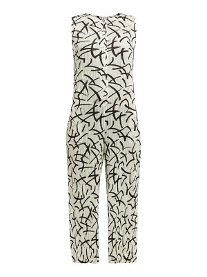 Pleats Please Issey Miyake abstract dash print pleated jumpsuit