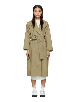 Pleats Please Issey Miyake beige belted wind trench coat