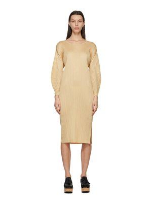 Pleats Please Issey Miyake beige monthly colors january dress