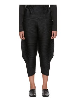 Pleats Please Issey Miyake black pleated wide bounce trousers
