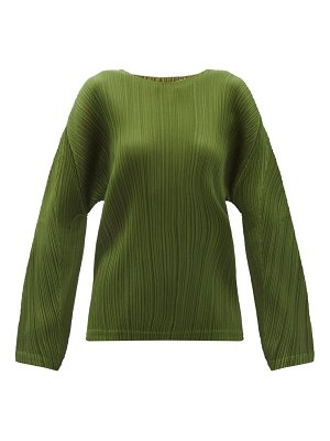 Pleats Please Issey Miyake dropped-sleeve technical-pleated top