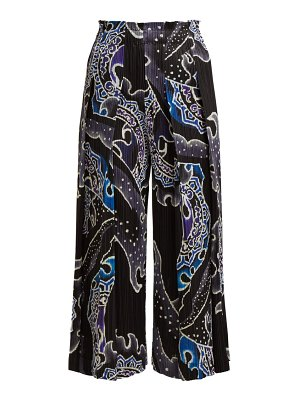 Pleats Please Issey Miyake flame print pleated cropped wide leg trousers