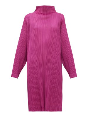 Pleats Please Issey Miyake high neck technical pleated dress