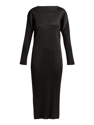 Pleats Please Issey Miyake Pleated Long Sleeved Midi Dress