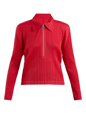 Pleats Please Issey Miyake Point-collar pleated top