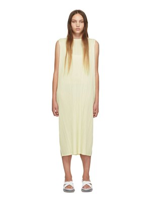 Pleats Please Issey Miyake ssense exclusive off-white pleated tank dress