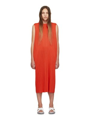 Pleats Please Issey Miyake ssense exclusive red pleated tank dress