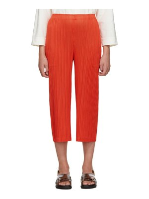 Pleats Please Issey Miyake ssense exclusive red pleated wide-leg trousers