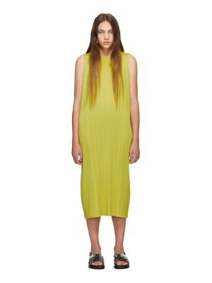Pleats Please Issey Miyake online exclusive yellow pleated tank dress