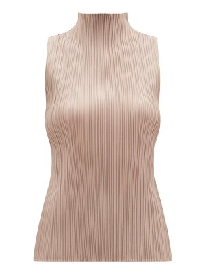 Pleats Please Issey Miyake stand-neck technical-pleated top