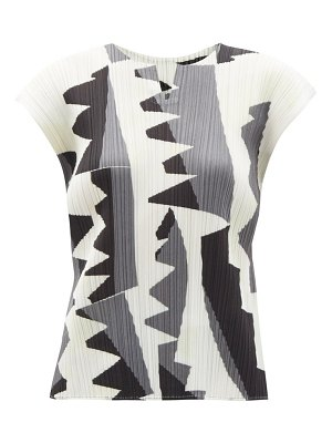Pleats Please Issey Miyake zigzag-print technical-pleated top
