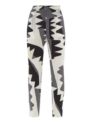 Pleats Please Issey Miyake zigzag-print technical-pleated trousers