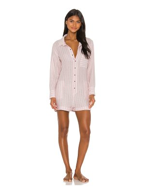 Plush soft striped linen romper