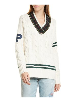 Polo Ralph Lauren cable knit letterman sweater