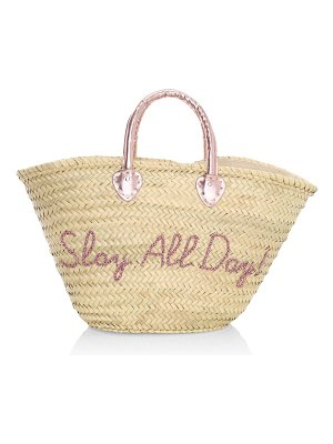 Poolside large le shortie slay all day raffia tote
