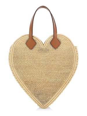 Poolside the big heart leather-trimmed raffia tote