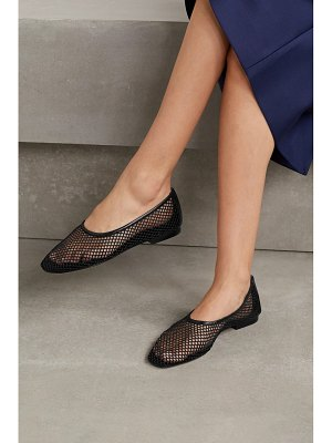 Porte & Paire leather-trimmed fishnet loafers