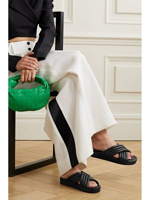 Porte & Paire quilted leather slides
