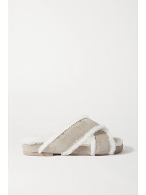 Porte & Paire shearling-lined suede slides