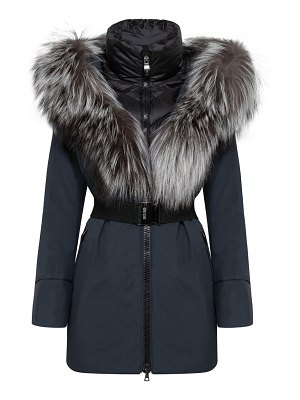 Post Card moire fur carcoat down jacket
