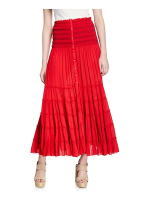 Poupette St Barth Foe Paneled Long A-Line Crinkle Skirt