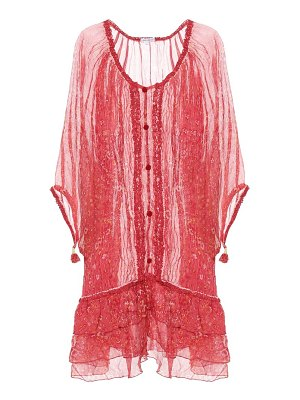Poupette St Barth poncho bety printed silk cover-up