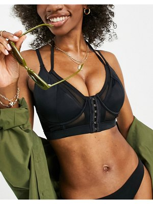 Pour Moi fuller bust space double strap front fastening bikini top in black