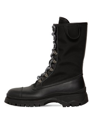 Prada 30mm nylon & leather combat boots