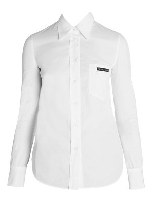 Prada back cutout cotton button-down shirt