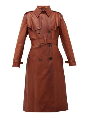 Prada belted grained leather trench coat