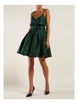 Prada belted satin brocade mini dress