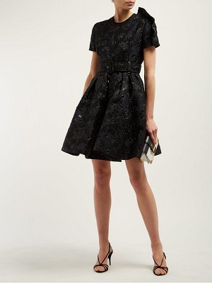 Prada bouquet brocade flared mini dress