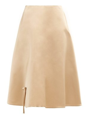 Prada bow appliqué silk-satin skirt