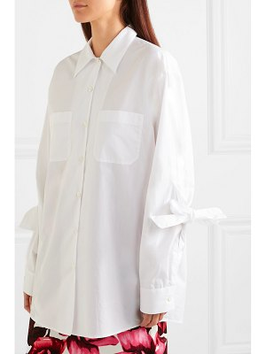 Prada bow-embellished cotton-poplin shirt