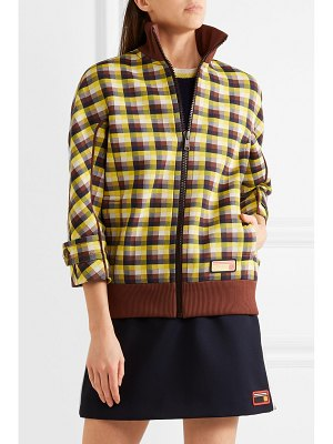 Prada checked jacquard-knit bomber jacket
