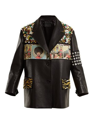 Prada contrast panel embellished leather jacket