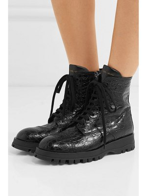 Prada croc-effect leather ankle boots