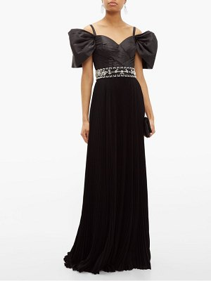 Prada crystal embellished pleated silk taffeta gown