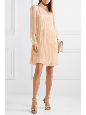Prada crystal-embellished plissé-georgette mini dress