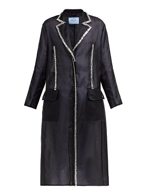 Prada crystal single breasted silk organza coat