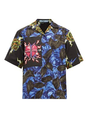 Prada cuban collar frankenstein print cotton shirt