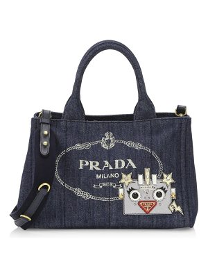 Prada denim robot small canvas satchel